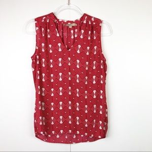 Banana Republic Red Silky Pattered Tank